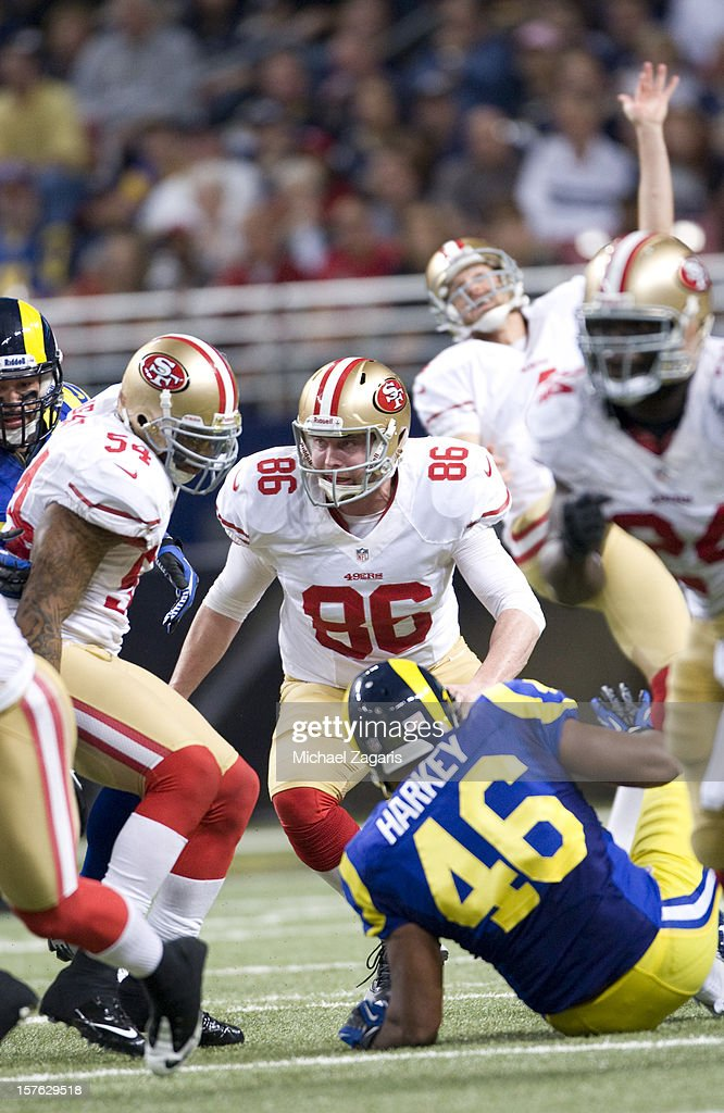 Brian Jennings of the San Francisco 49ers blocks on punt coverage during the game against the St Louis Rams at the Edward Jones Dome on December 2...