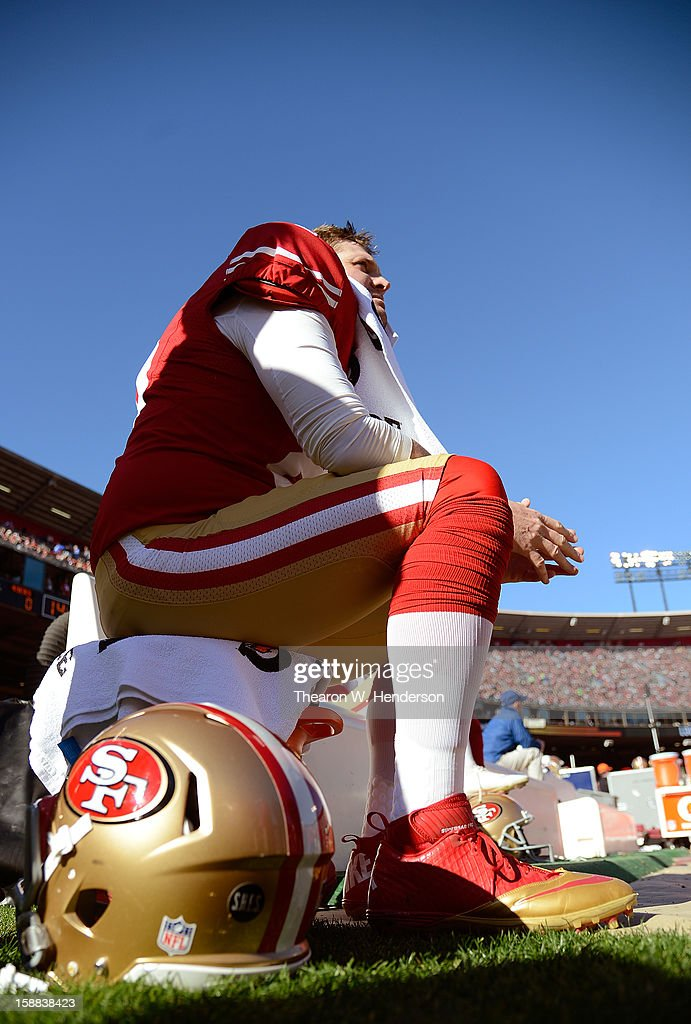 Brian Jennings of the San Francisco 49ers looks on from the bench before the start fo their game against the Arizona Cardinals at Candlestick Park on...