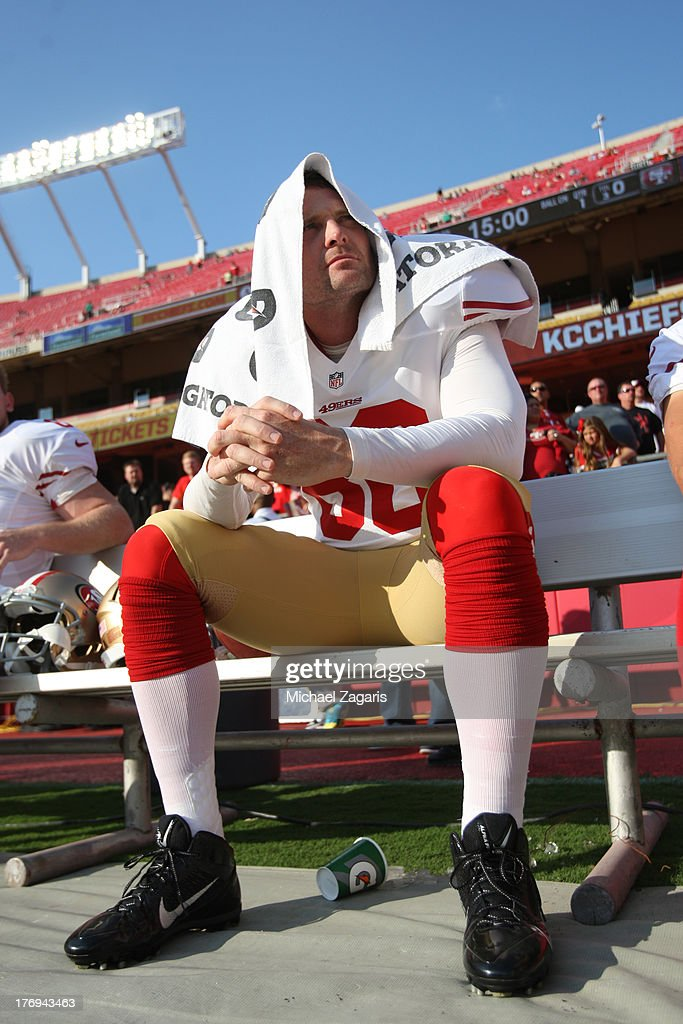 Brian Jennings of the San Francisco 49ers sits on the bench prior to the game against the Kansas City Chiefs at Arrowhead Stadium on August 16 2013...