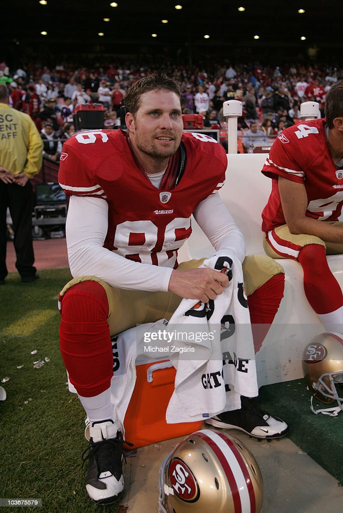 Brian Jennings of the San Francisco 49ers sitting on the bench during the game against the Minnesota Vikings at Candlestick Park on August 22 2010 in...