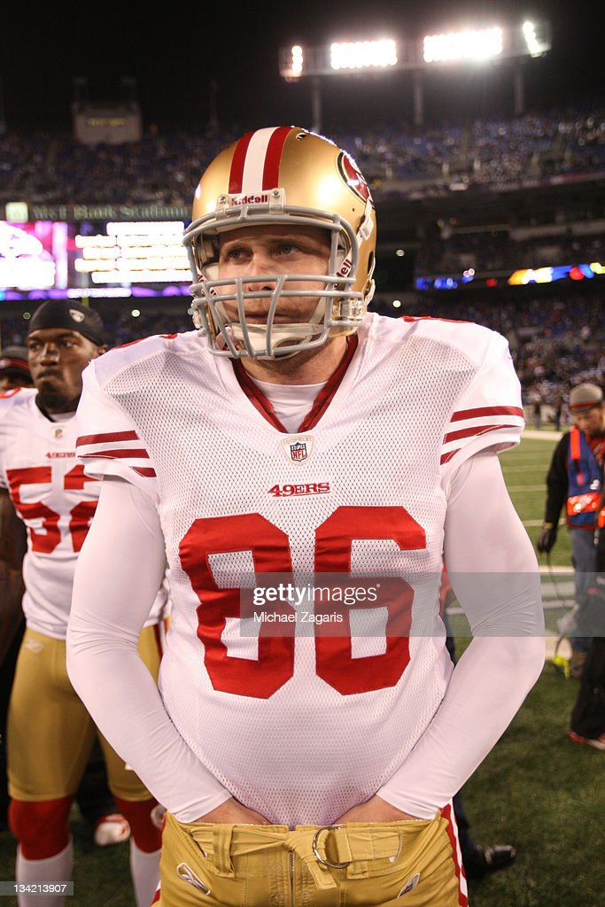 Brian Jennings of the San Francisco 49ers stands on the field prior to the game against the Baltimore Ravens at MT Bank Stadium on November 24 2011...