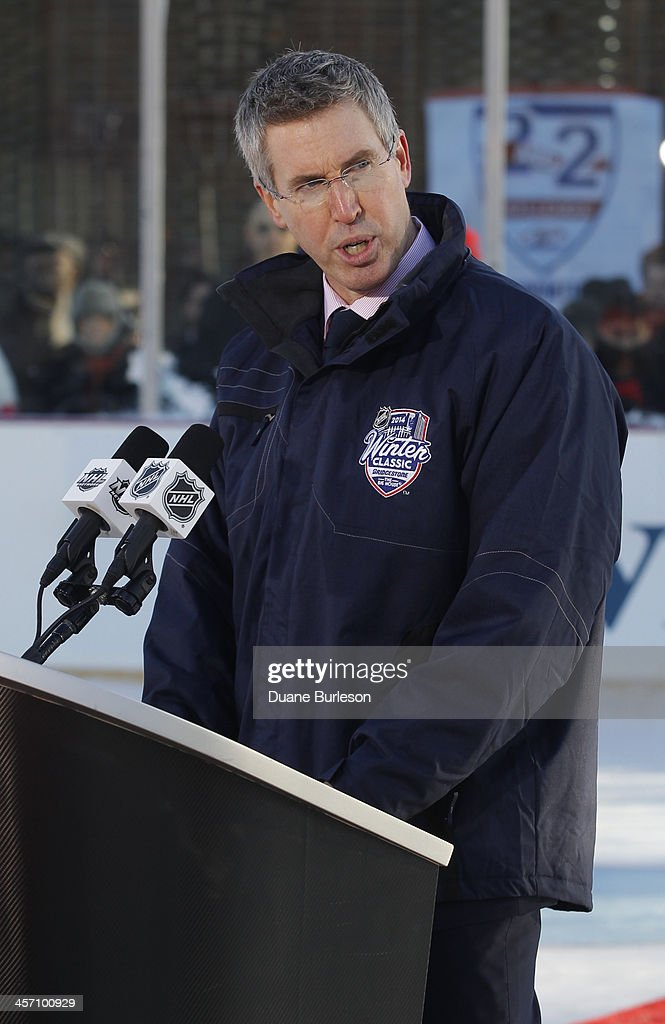 Brian Jennings the chief marketing officer of the NHL addresses the attendees during a dedication of the renovated ice arena and facilities at Clark...