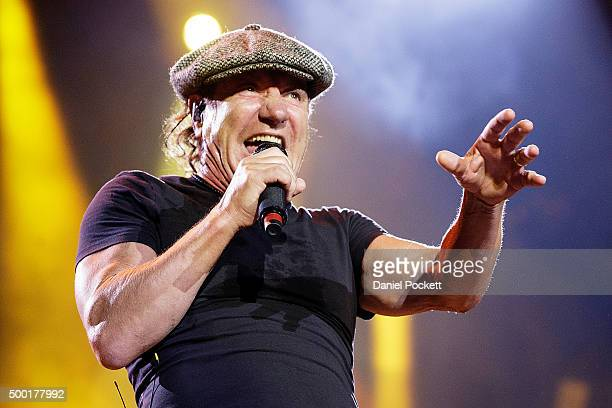 Brian Johnson and AC/DC perform during their 'Rock or Bust' World Tour at Etihad Stadium on December 6 2015 in Melbourne Australia