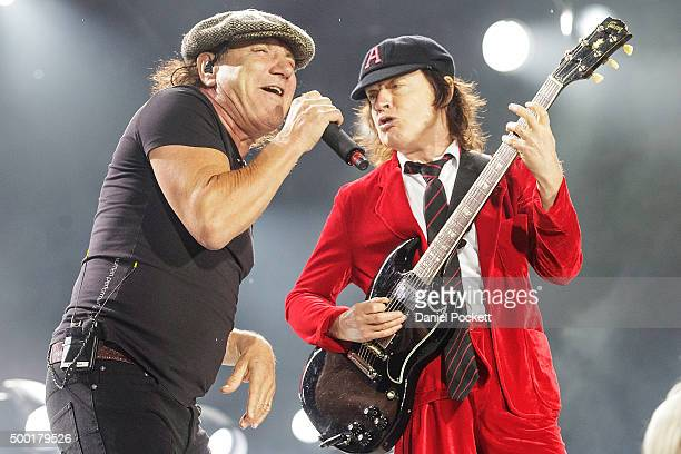 Brian Johnson and Angus Young AC/DC perform during their 'Rock or Bust' World Tour at Etihad Stadium on December 6 2015 in Melbourne Australia