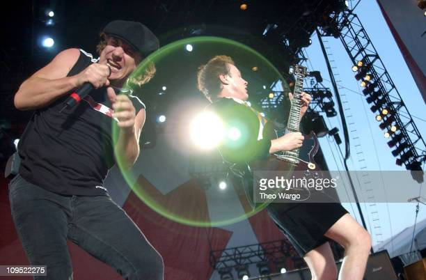 Brian Johnson and Angus Young of AC/DC during Molson Canadian Rocks for Toronto Show at Downsview Park in Toronto Ontario Canada
