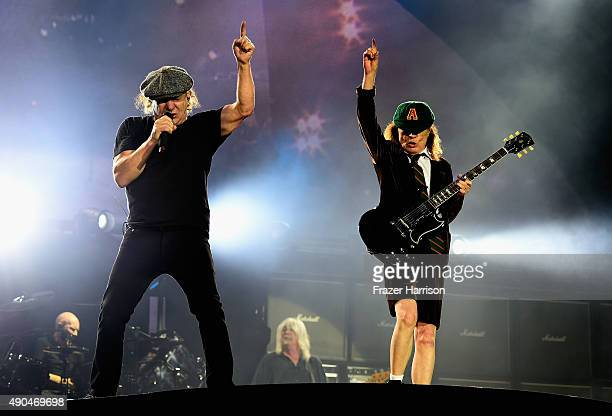 Brian Johnson and Angus Young of AC/DC Perform at Dodger Stadium at Dodger Stadium on September 28 2015 in Los Angeles California