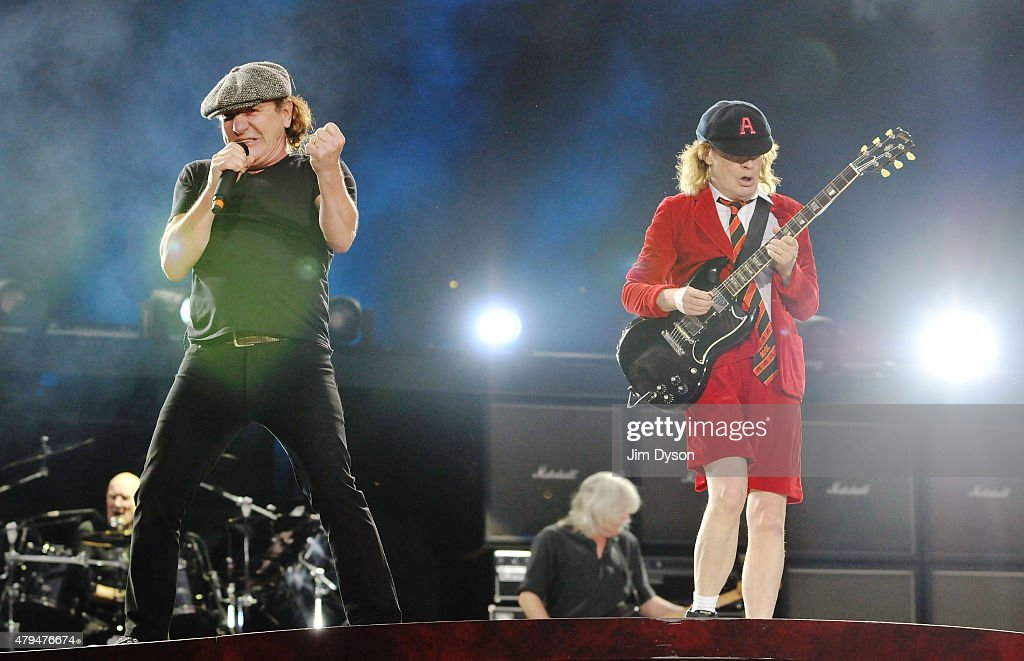 Brian Johnson and Angus Young of AC/DC perform live on stage during the 'Rock or Bust' World Tour, at Wembley Stadium on July 4, 2015 in London, United Kingdom.