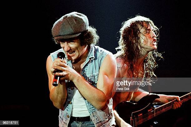 Brian Johnson and Angus Young of AC/DC perform on stage at Wembley Arena on January 17th 1986 in London United Kingdom