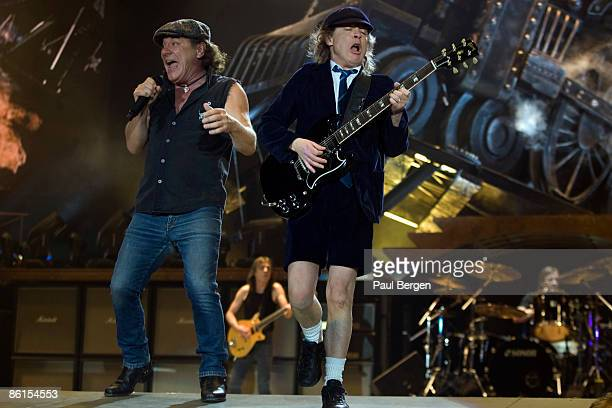 Brian Johnson and Angus Young of AC/DC performing on stage at Ahoy in Rotterdam Holland on March 13 2009