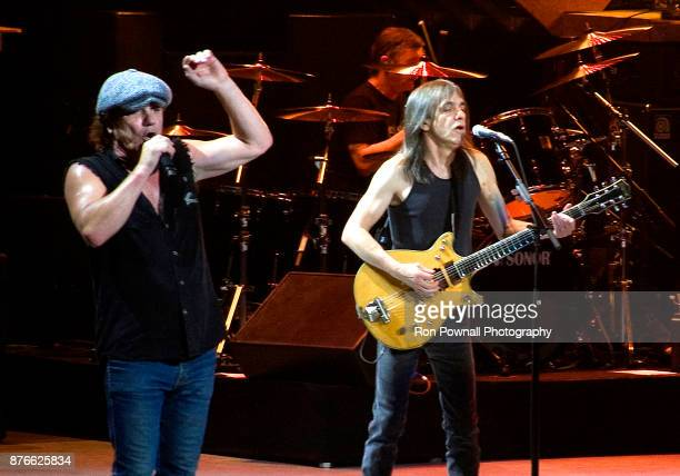 Brian Johnson and Malcolm Young perform at the TD Boston Garden November 9 2008