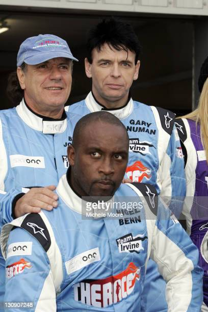Brian Johnson Gary Numan and Nigel Benn during 'The Race' Photocall and Press Conference at Silverstone in Northampton Great Britain