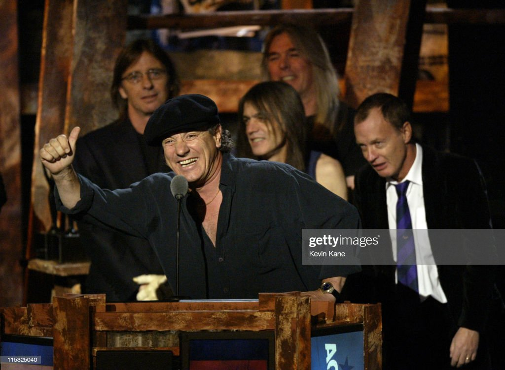 Brian Johnson of AC/DC at the podium during The 18th Annual Rock and Roll Hall of Fame Induction Ceremony - Show at The Waldorf Astoria in New York City, New York, United States.