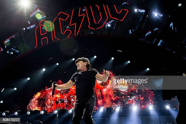 Brian Johnson of AC/DC performs at Tacoma Dome on February 2 2016 in Tacoma Washington