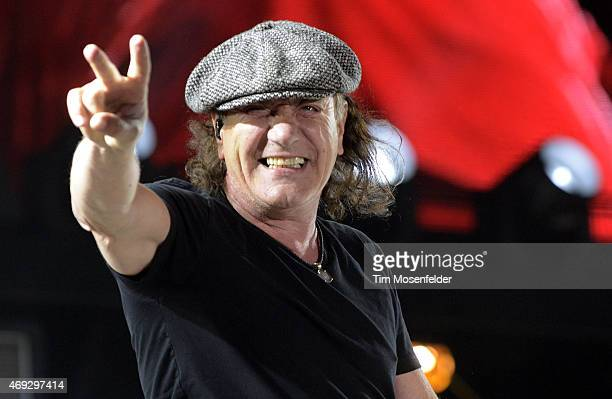 Brian Johnson of AC/DC performs during the 2015 Coachella Valley Musica and Arts Festival at The Empire Polo Club on April 10 2015 in Indio California