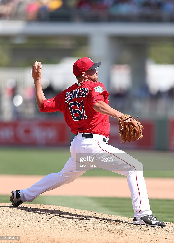Brian Johnson #61 of the Boston Red Sox pitches during the fifth inning of the Spring Training Game against the Pittsburgh Pirates on March 14, 2016 during the Spring Training Game at Jet Blue Park at Fenway South, Fort Myers, Florida. The Pirates defeated the Red Sox 3-1.