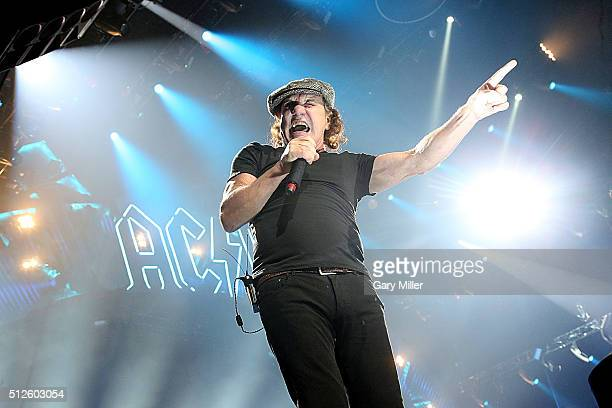 Brian Johnson performs in concert with AC/DC at the Toyota Center on February 26 2016 in Houston Texas