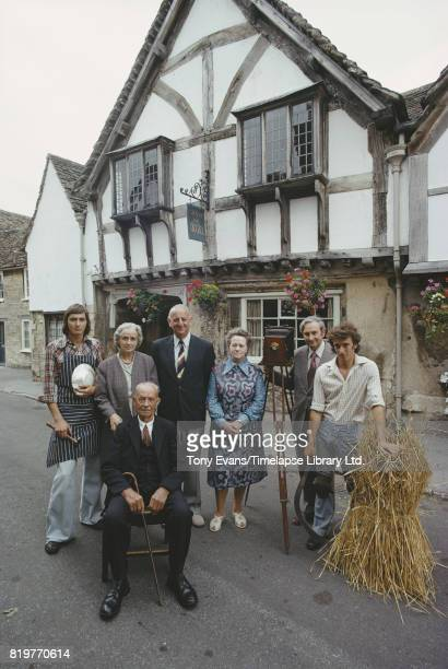 Brian Johnston visits Lacock and introduces another corner of England 1975 With him are the six guests on the BBC Radio series 'Down your way' From...