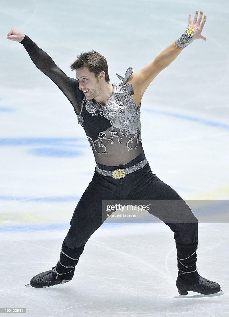 <a gi-track='captionPersonalityLinkClicked' href=/galleries/search?phrase=Brian+Joubert&family=editorial&specificpeople=213858 ng-click='$event.stopPropagation()'>Brian Joubert</a> of France competes in the men's free program during day two of the ISU World Team Trophy at Yoyogi National Gymnasium on April 12, 2013 in Tokyo, Japan.