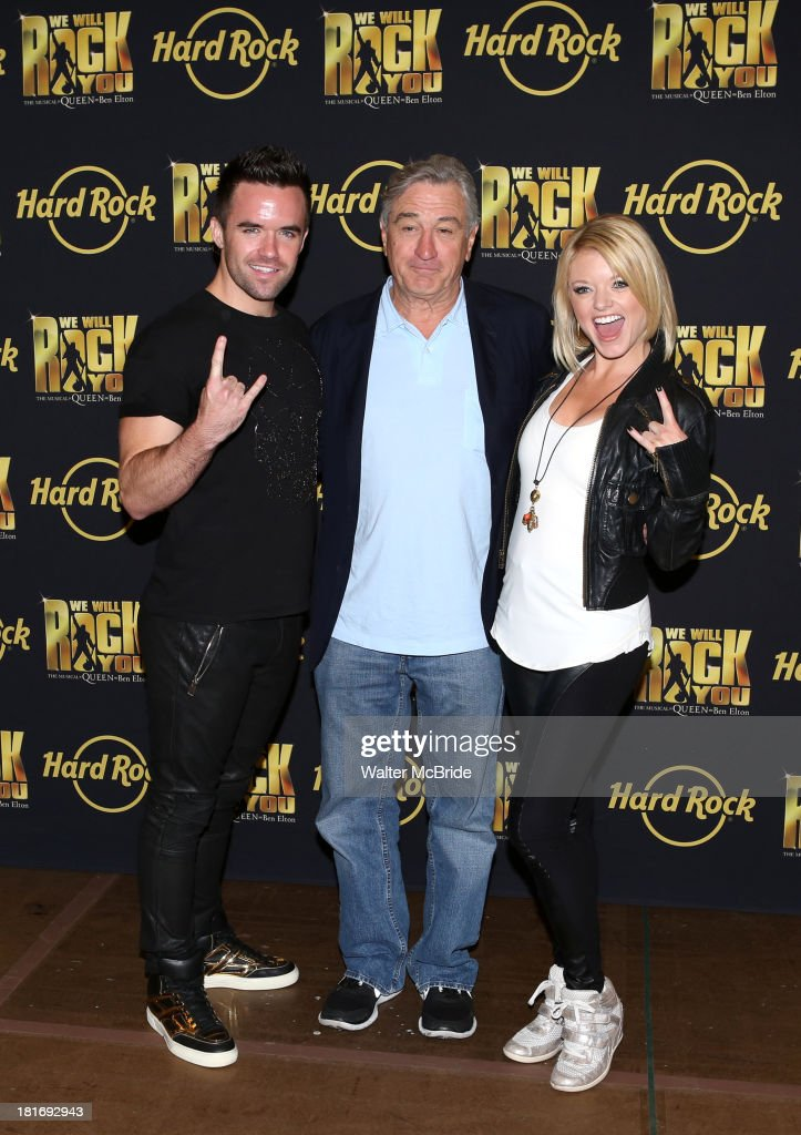Brian Justin Crum, <a gi-track='captionPersonalityLinkClicked' href=/galleries/search?phrase=Robert+De+Niro&family=editorial&specificpeople=201673 ng-click='$event.stopPropagation()'>Robert De Niro</a> and Ruby Lewis attend the 'We Will Rock You' North America Tour Rehearsals at The New 42nd Street Studios on September 23, 2013 in New York City.