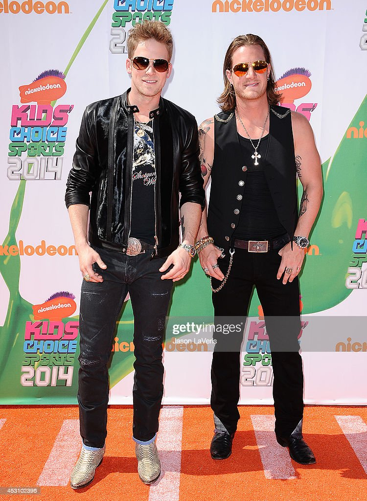 Brian Kelley and Tyler Hubbard of Florida Georgia Line attend the 2014 Nickelodeon Kids' Choice Sports Awards at Pauley Pavilion on July 17, 2014 in Los Angeles, California.