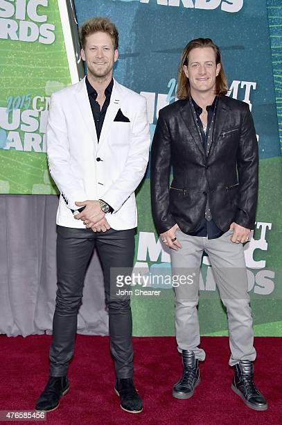 Brian Kelley and Tyler Hubbard of Florida Georgia Line attend the 2015 CMT Music awards at the Bridgestone Arena on June 10 2015 in Nashville...