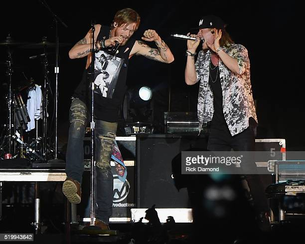 Brian Kelley and Tyler Hubbard of Florida Georgia Line headlines County Thunder Music Festivals Arizona Day 2 on April 8 2016 in Florence Arizona