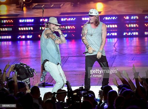 Brian Kelley and Tyler Hubbard of Florida Georgia Line perform during the Dig Your Roots 2016 Tour at PNC Bank Arts Center on August 4 2016 in...