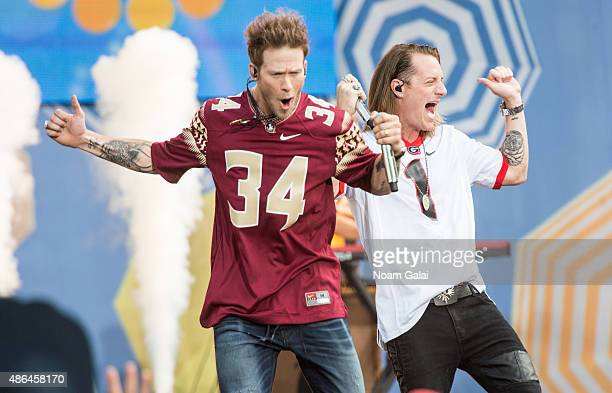 Brian Kelley and Tyler Hubbard of Florida Georgia Line perform on ABC's 'Good Morning America' at Rumsey Playfield Central Park on September 4 2015...