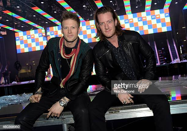 Brian Kelley and Tyler Hubbard of Florida Georgia Line pose for a photo during a press conference for the American Country Countdown Awards on...