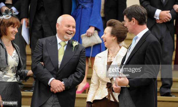 Brian Kelly Princess Anne Princess Royal and Timothy Laurence talk at the wedding of Peter Phillips and Autumn Kelly at St George's Chapel on May 17...