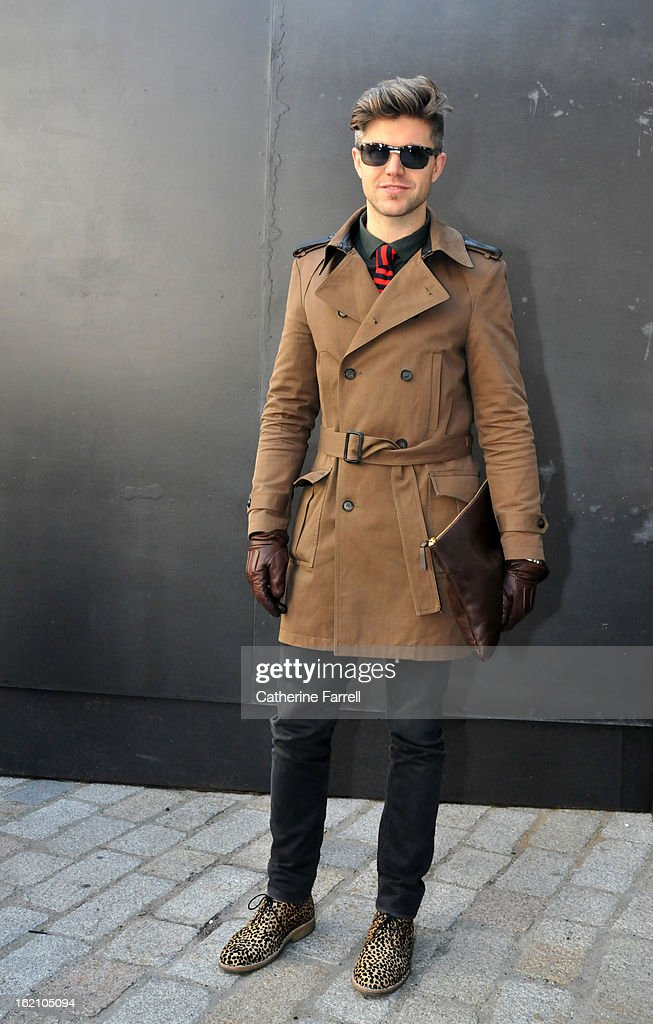 Brian Kennedy T.V Presenter ITV & RTE (Gay Daddy Documentary) wearing Kooples coat, Uniglo tie, All Saints shirt, Diesel trousers, Armani gloves, Swatch watch, Hackett clutch bag and YMC cowskin desert boots at London Fashion Week Fall/Winter 2013/14 on February 18, 2013 in London, England.