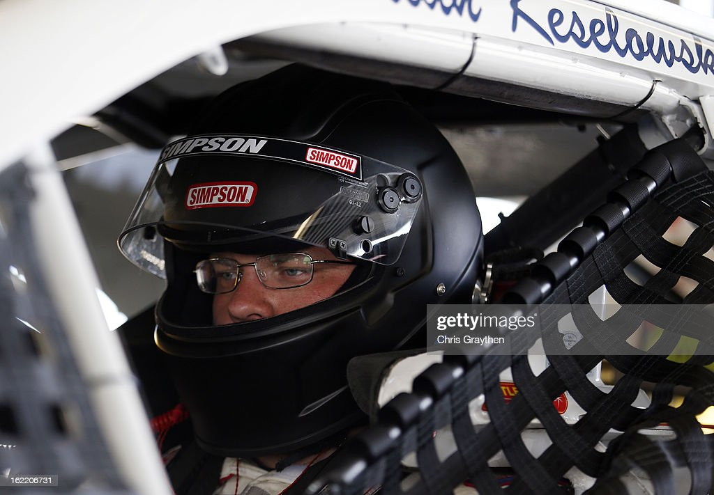 Brian Keselowski, driver of the #52 TruckerFan.com Toyota, sits in his car during practice for the NASCAR Sprint Cup Series Daytona 500 at Daytona International Speedway on February 20, 2013 in Daytona Beach, Florida.