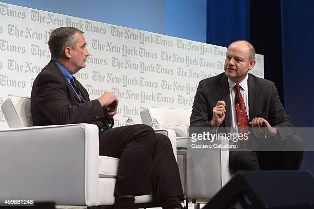 Brian Krzanich CEO Intel Corporation discusses Luxottica partnership for the first time onstage with Mark Thompson President and CEO The New York...