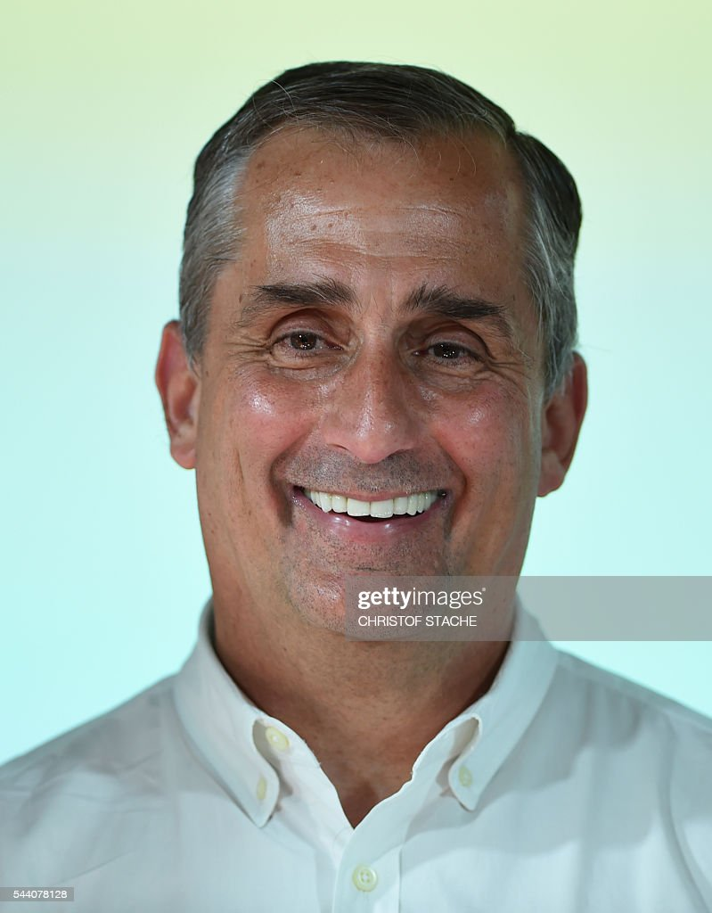 Brian Krzanich, CEO of Intel is pictured after a press conference in Munich, southern Germany, on July 1, 2016. The BMW Group, Intel and Mobileye, the three leaders from automotive, technology and computer vision and machine learning industries are collaborating to bring solutions for highly and fully automated driving into series production by 2021. / AFP / CHRISTOF