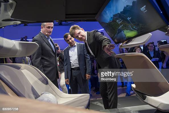 Brian Krzanich chief executive officer of Intel Corp from left Amnon Shahua chairman and chief technology officer of Mobileye and Klaus Froehlich...