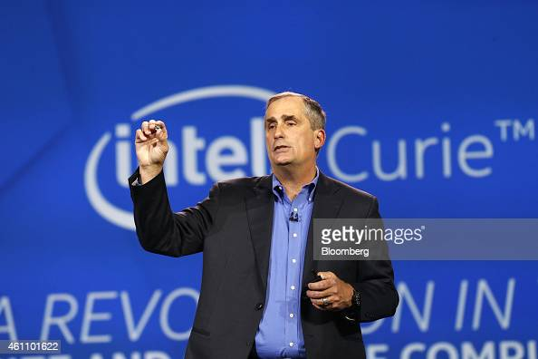 Brian Krzanich chief executive officer of Intel Corp holds the Curie module as he speaks during the 2015 Consumer Electronics Show in Las Vegas...
