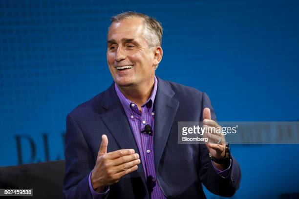 Brian Krzanich chief executive officer of Intel Corp speaks during the Wall Street Journal DLive global technology conference in Laguna Beach...