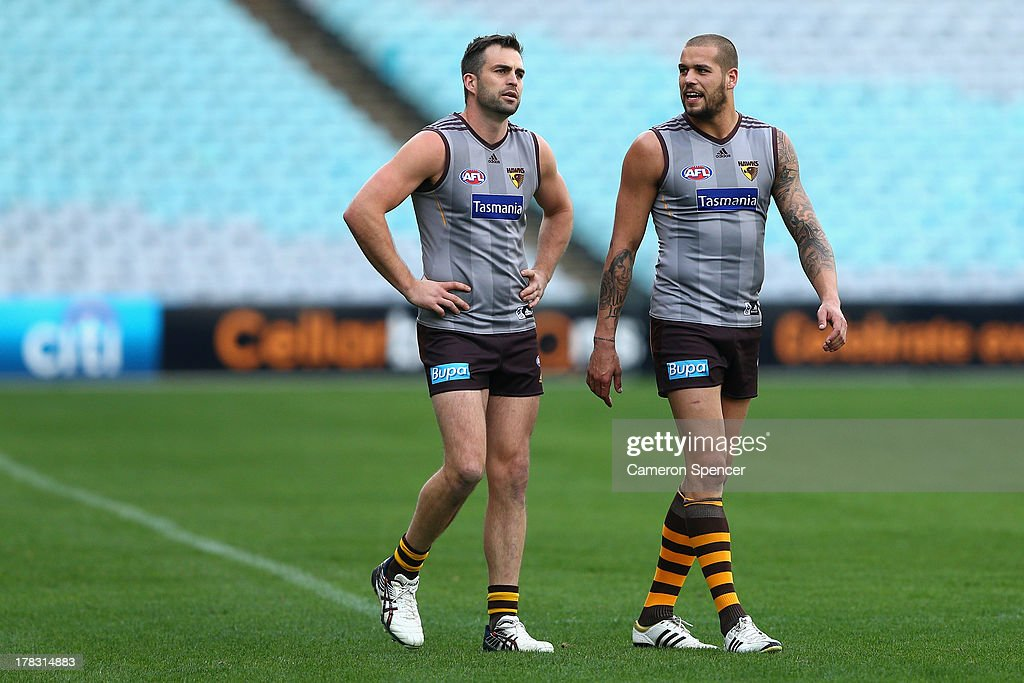 Brian Lake and Lance Franklin of the Hawks talk during a Hawthorn Hawks AFL training session at ANZ Stadium on August 29, 2013 in Sydney, Australia.