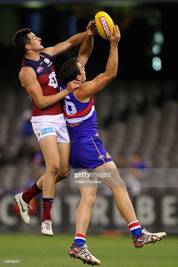 Brian Lake of the Bulldogs takes a mark during the round 13 AFL match between the Western Bulldogs and the Brisbane Lions at Etihad Stadium on June 23, 2012 in Melbourne, Australia.