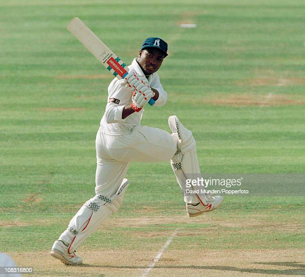 Brian Lara batting for Warwickshire during the Benson Hedges Cup Final between Warwickshire and Worcestershire played at Lord's Cricket Ground in...