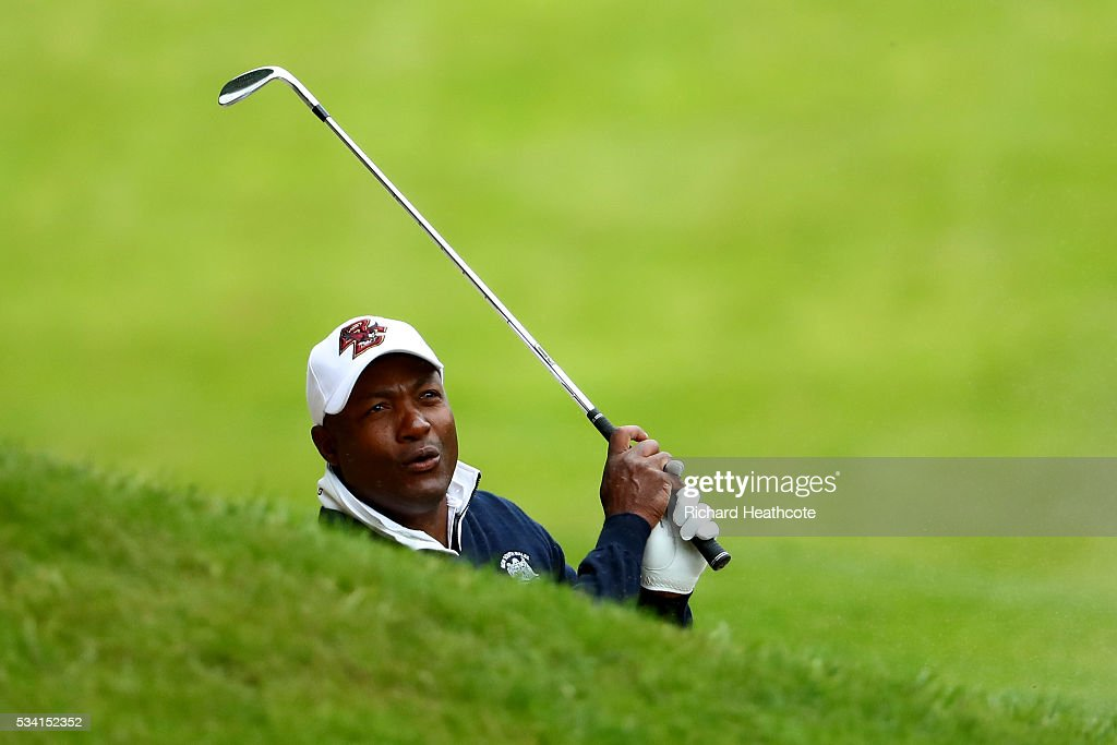 <a gi-track='captionPersonalityLinkClicked' href=/galleries/search?phrase=Brian+Lara&family=editorial&specificpeople=162724 ng-click='$event.stopPropagation()'>Brian Lara</a> in action during the Pro-Am prior to the BMW PGA Championship at Wentworth on May 25, 2016 in Virginia Water, England.