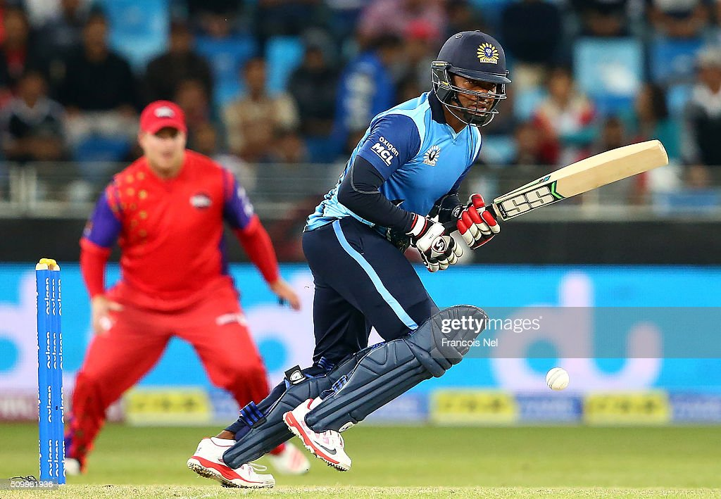 <a gi-track='captionPersonalityLinkClicked' href=/galleries/search?phrase=Brian+Lara&family=editorial&specificpeople=162724 ng-click='$event.stopPropagation()'>Brian Lara</a> of Leo Lions bats during the Final match of the Oxigen Masters Champions League between Gemini Arabians and Leo Lions at the Dubai International Cricket Stadium on February 13, 2016 in Dubai, United Arab Emirates.