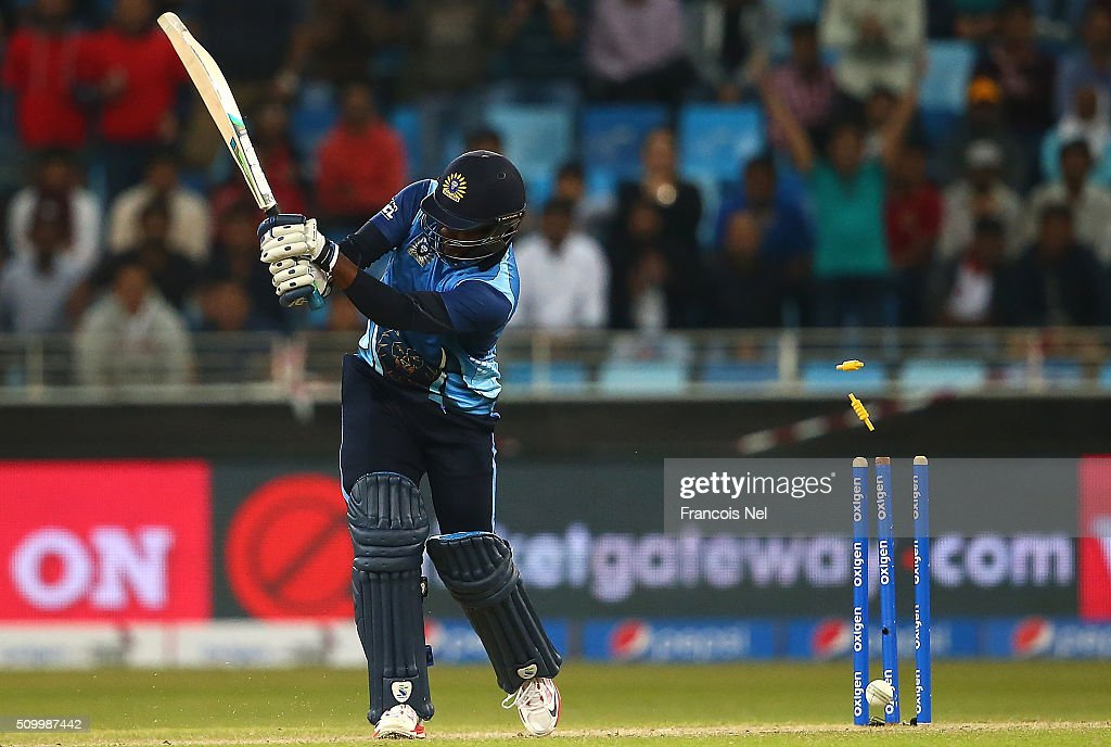 <a gi-track='captionPersonalityLinkClicked' href=/galleries/search?phrase=Brian+Lara&family=editorial&specificpeople=162724 ng-click='$event.stopPropagation()'>Brian Lara</a> of Leo Lions is bowled out during the Final match of the Oxigen Masters Champions League between Gemini Arabians and Leo Lions at the Dubai International Cricket Stadium on February 13, 2016 in Dubai, United Arab Emirates.