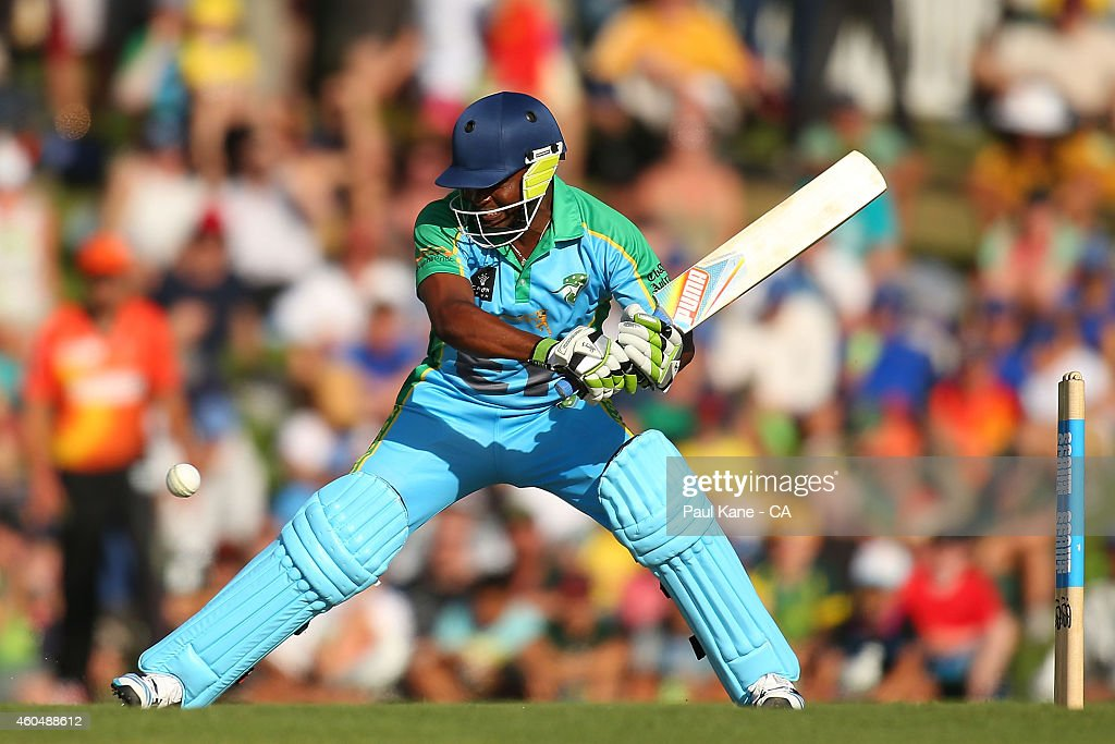 Brian Lara of the Legends XI bats during the Twenty20 match between the Perth Scorchers and Australian Legends at Aquinas College on December 15, 2014 in Perth, Australia.