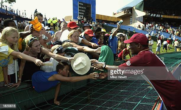 Brian Lara of the West Indies signs autographs after the ICC Cricket World Cup Pool B match between West Indies and Canada held on February 23 2003...