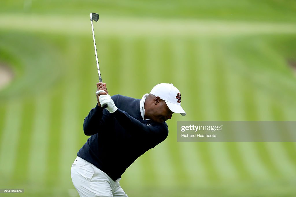 Brian Lara tees off during the Pro-Am prior to the BMW PGA Championship at Wentworth on May 25, 2016 in Virginia Water, England.