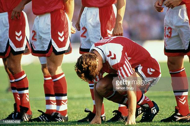 Brian Laudrup of Denmark lines up prior to the UEFA European Championships 1992 Final between Denmark and Germany held at the Ullevi Stadium on June...