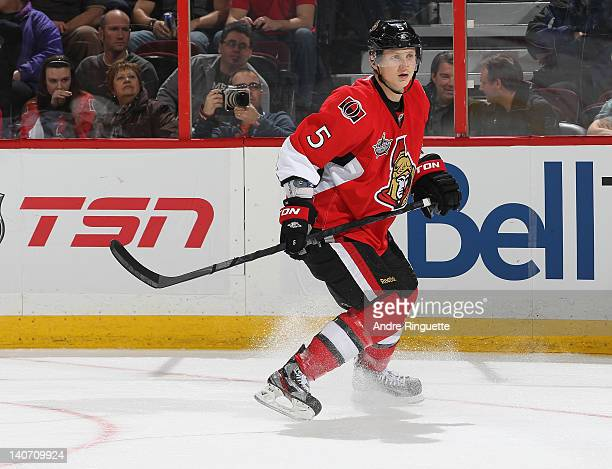 Brian Lee of the Ottawa Senators skates against the Washington Capitals at Scotiabank Place on February 22 2012 in Ottawa Ontario Canada