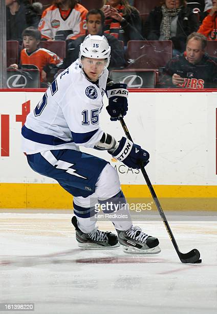 Brian Lee of the Tampa Bay Lightning skates the puck against the Philadelphia Flyers on February 5 2013 at the Wells Fargo Center in Philadelphia...