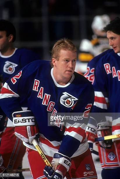 Brian Leetch of the New York Rangers skates on the ice before an NHL game in 1992 at the Madison Square Garden in New York New York